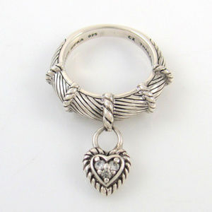 Judith Ripka Sterling Silver .925 Heart Charm Sz 7